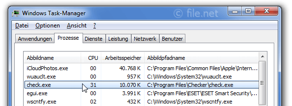 Windows Task-Manager mit check