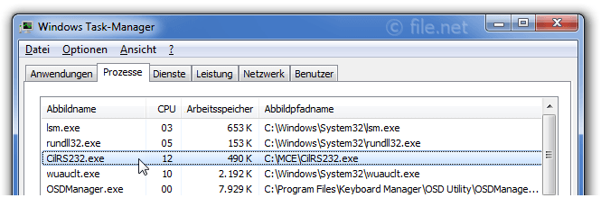 Windows Task-Manager mit CilRS232