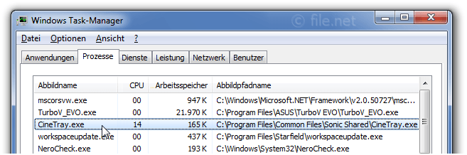 Windows Task-Manager mit CineTray