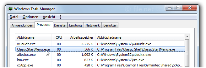 Windows Task-Manager mit ClassicStartMenu