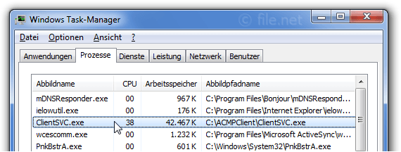 Windows Task-Manager mit ClientSVC