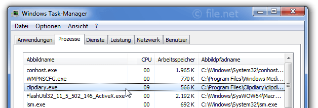 Windows Task-Manager mit clipdiary