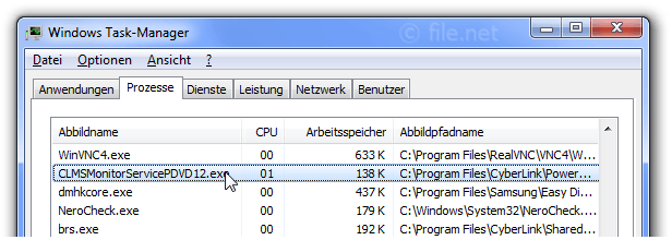 Windows Task-Manager mit CLMSMonitorServicePDVD12