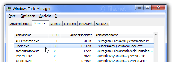 Windows Task-Manager mit Clock