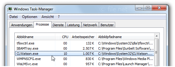 Windows Task-Manager mit CLWatson