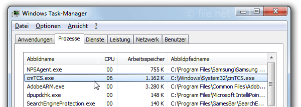 Windows Task-Manager mit cmTCS
