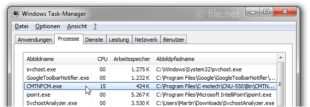 Windows Task-Manager mit CMTNFCM