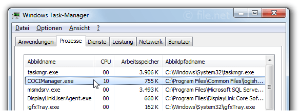 Windows Task-Manager mit COCIManager