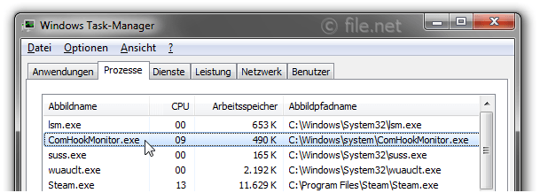 Windows Task-Manager mit ComHookMonitor