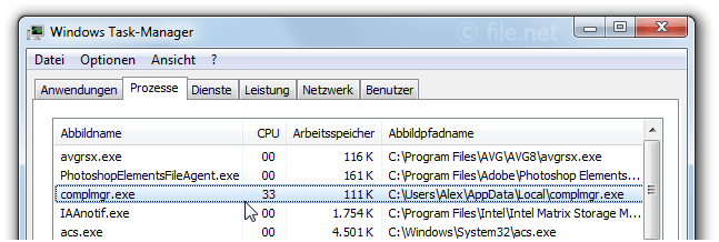 Windows Task-Manager mit complmgr
