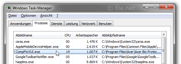 Windows Task-Manager mit CompPtcVUI