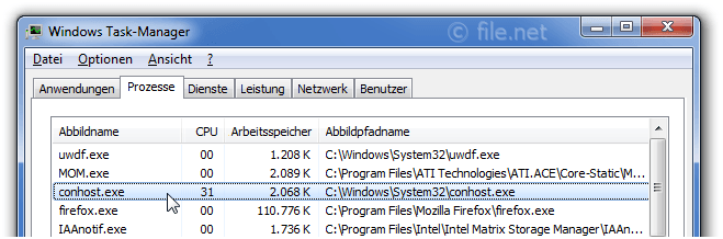 Windows Task-Manager mit conhost