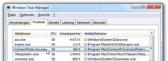 Windows Task-Manager mit ConnectifyService