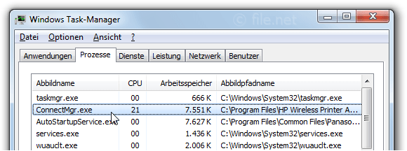 Windows Task-Manager mit ConnectMgr
