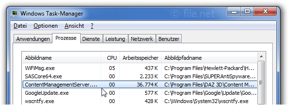 Windows Task-Manager mit ContentManagementServer