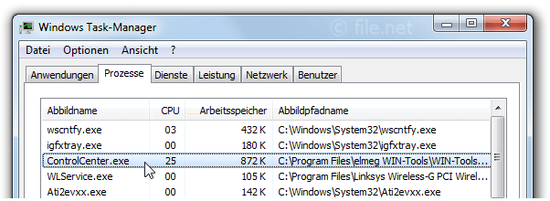 Windows Task-Manager mit ControlCenter
