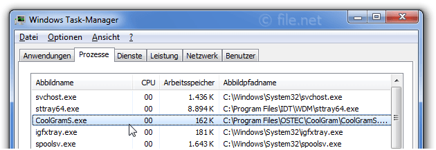 Windows Task-Manager mit CoolGramS
