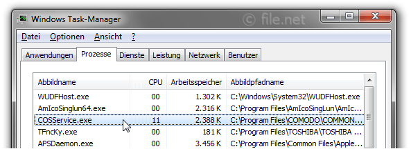 Windows Task-Manager mit COSService