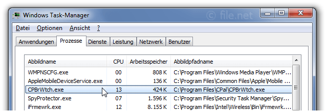 Windows Task-Manager mit CPBrWtch
