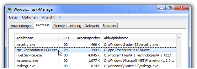 Windows Task-Manager mit cpe17antiautorun1330