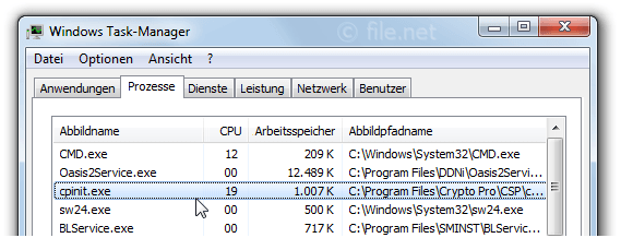 Windows Task-Manager mit cpinit