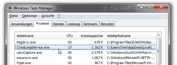 Windows Task-Manager mit CrossLoopService