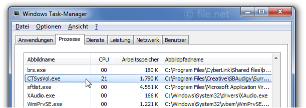 Windows Task-Manager mit CTSysVol