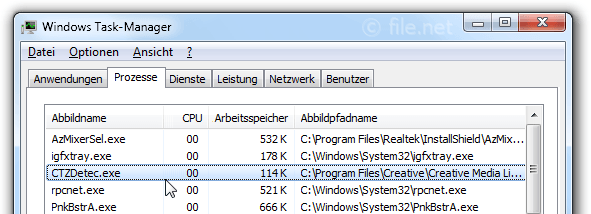 Windows Task-Manager mit CTZDetec