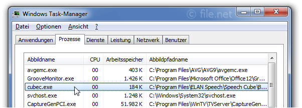 Windows Task-Manager mit cubec
