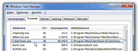 Windows Task-Manager mit CyberGhost