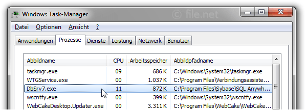 Windows Task-Manager mit DbSrv7