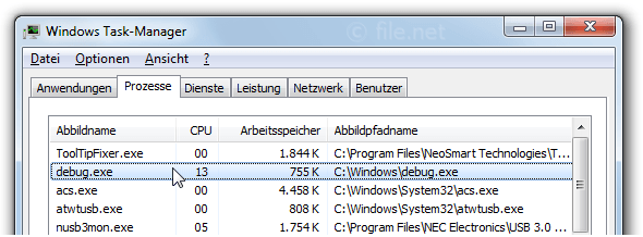 Windows Task-Manager mit debug