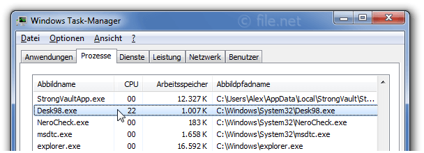 Windows Task-Manager mit Desk98
