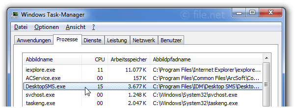 Windows Task-Manager mit DesktopSMS