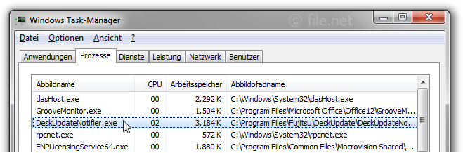 Windows Task-Manager mit DeskUpdateNotifier