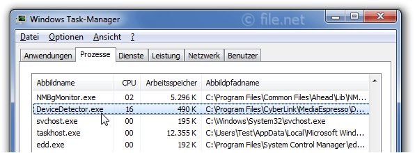 Windows Task-Manager mit DeviceDetector