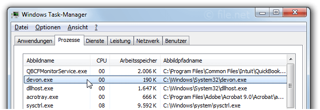 Windows Task-Manager mit devon