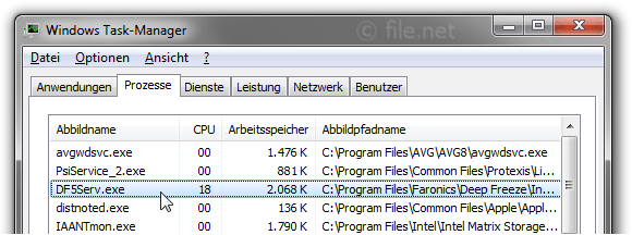 Windows Task-Manager mit DF5Serv