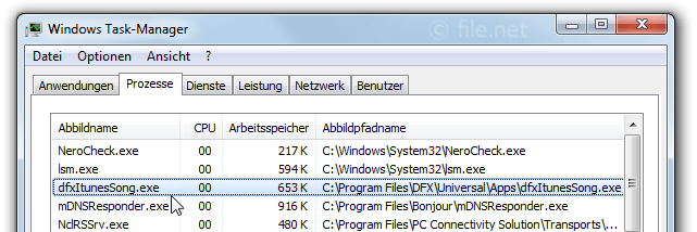 Windows Task-Manager mit dfxItunesSong