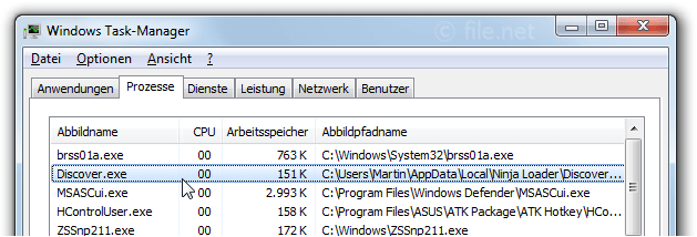 Windows Task-Manager mit Discover