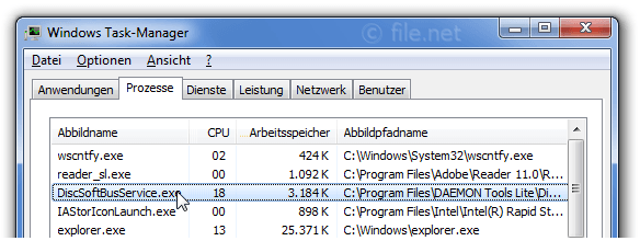 Windows Task-Manager mit DiscSoftBusService