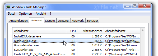 Windows Task-Manager mit DisplayLinkUI