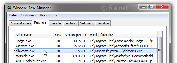 Windows Task-Manager mit dlbkcoms