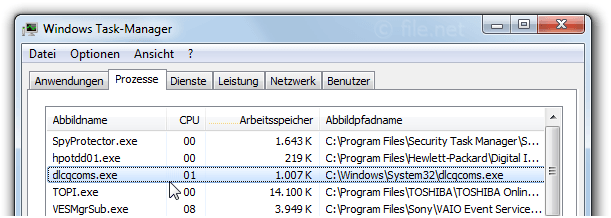 Windows Task-Manager mit dlcqcoms