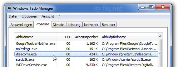 Windows Task-Manager mit dleacoms