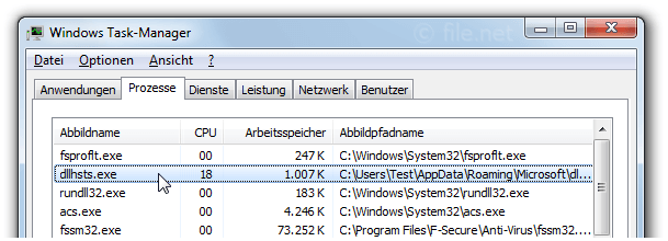 Windows Task-Manager mit dllhsts