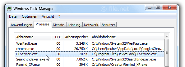 Windows Task-Manager mit DLService