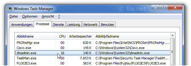Windows Task-Manager mit dmadmin