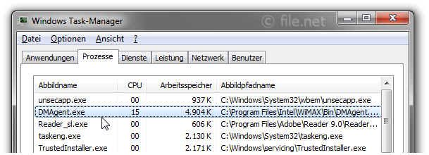 Windows Task-Manager mit DMAgent