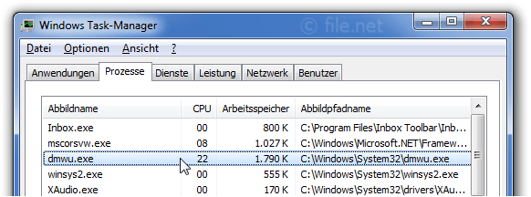 Windows Task-Manager mit dmwu